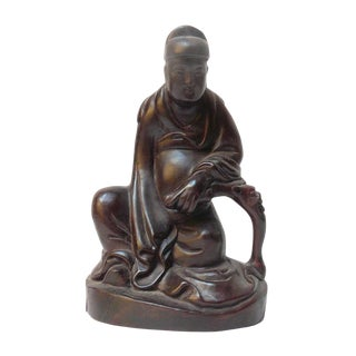 Handcrafted Ancient Chinese Tan Wood Carved Sitting Wisdom Scholar Statue