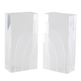 PAIR OF THICK LUCITE BOOKENDS WITH INTERNAL SAWED DESIGNS