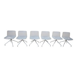 Set of 6 Arper Catifa 53 Trestle Swivel White Leather Chairs