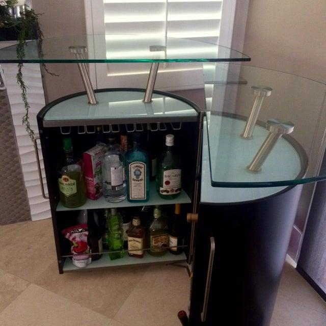 Round Portable Home Bar On Wheels Chairish