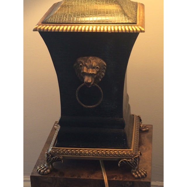 Image of Bronze Decorator Library Lamp With Lion Heads