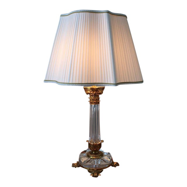 Image of Empire Solid Brass and Crystal Table Lamps - A Pair