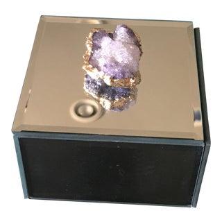 Amethyst Gem Purple Gold Mirrored Jewelry Box