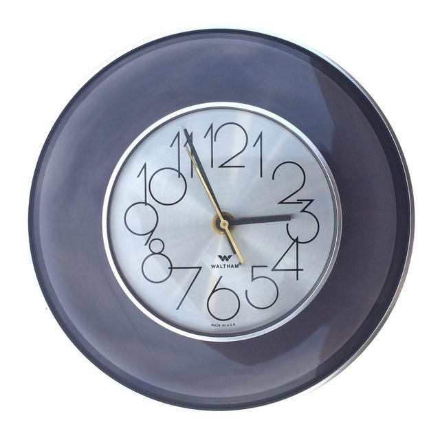Vintage 1970's Smoked Lucite Wall Clock - Image 1 of 4