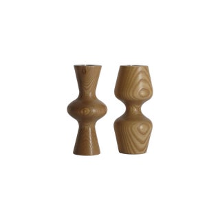 Organic Birch Wood Candleholders - A Pair