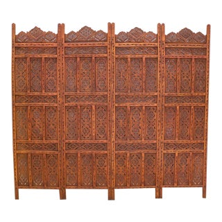 African Handcarved Wooden Room Divider