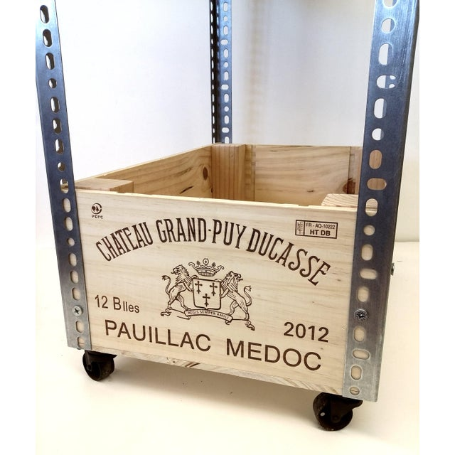 French Wine Box Industrial Bar Cart - Image 4 of 11
