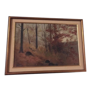 Original Signed & Dated Forest Oil Painting