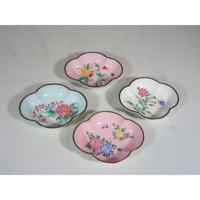 Floral Chinese Enamel Bowls - Set of 4 - Image 2 of 9