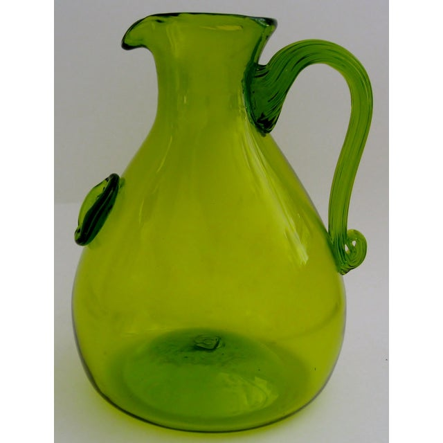 Green Glass Pitcher - Image 3 of 5