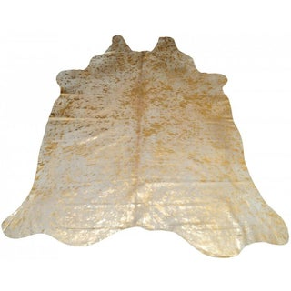 Natural & Gold Handmade Cowhide Rug - 6' x 7'