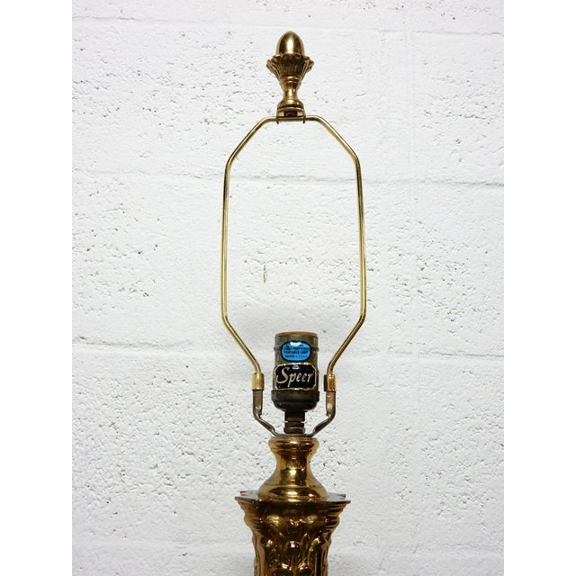 Speer Brass Floor Lamps With Harp - A Pair - Image 7 of 10