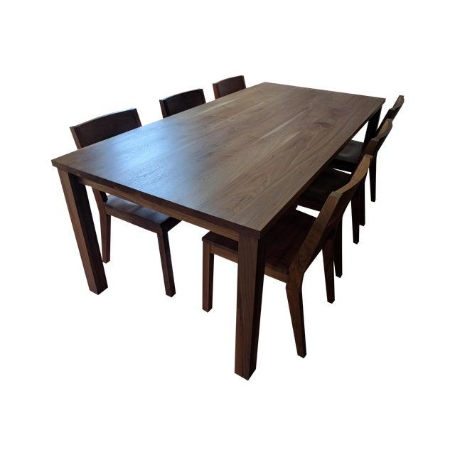 Room & Board Walnut Dining Table Set - Image 1 of 5