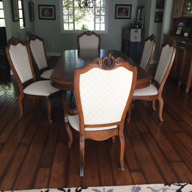 American drew co double pedestal table 6 chairs dining for Table 6 greensboro nc