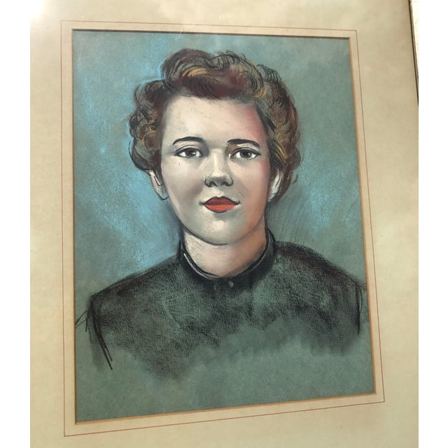 Vintage Female Portrait Chalk Drawing - Image 5 of 7