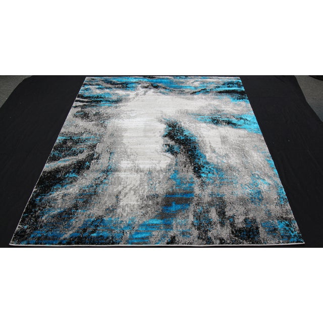 Black & Blue Abstract Rug - 8' x 10' - Image 2 of 3