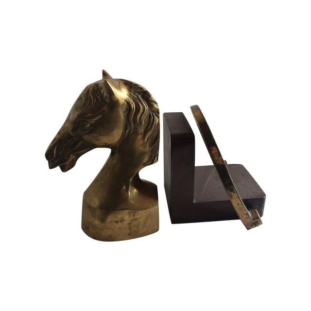 Equestrian Horseshoe Brass Bookends - 2 - Image 1 of 6