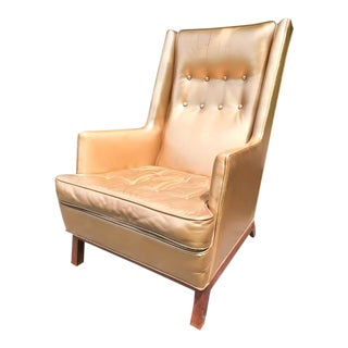 Mid-Century Shiny Gold Lounge Chair