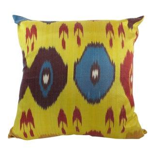 Yellow Woven Silk Ikat Pillow