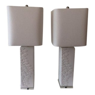 Vintage Moderne White Ceramic Table Lamps With Lucite Base and Fish Details - a Pair