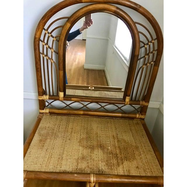 Vintage Bamboo & Rattan Two-Piece Vanity Set W/ Mirror & Stool - Image 5 of 8