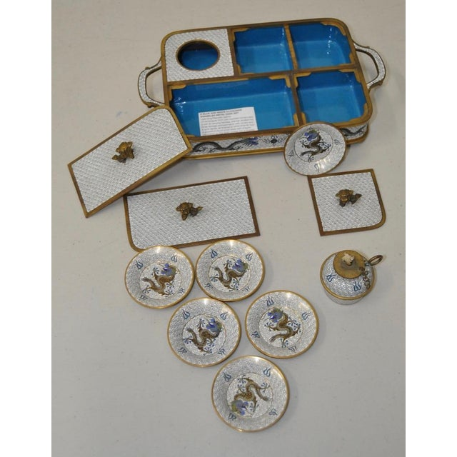 Blue & White Cloisonne Enameled Desk Set - Image 8 of 11
