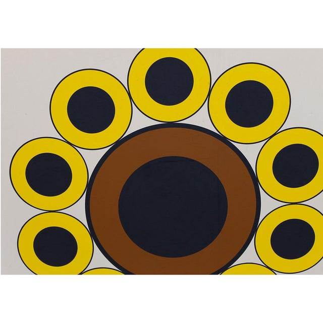1969 Mod Graphic Sunflower Painting Signed Chairish