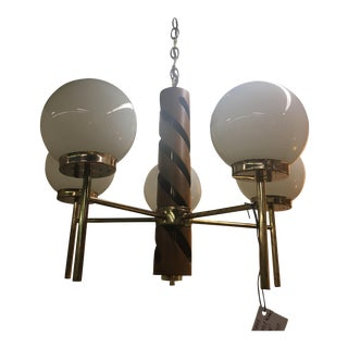 Teak & Brass Globe Ceiling Light