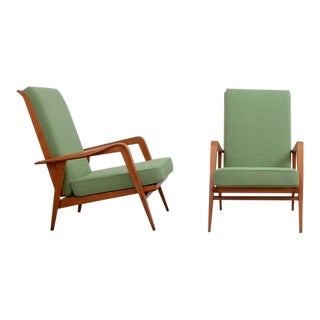 Pair of New Upholstered Etienne Henri Martin Lounge Chairs