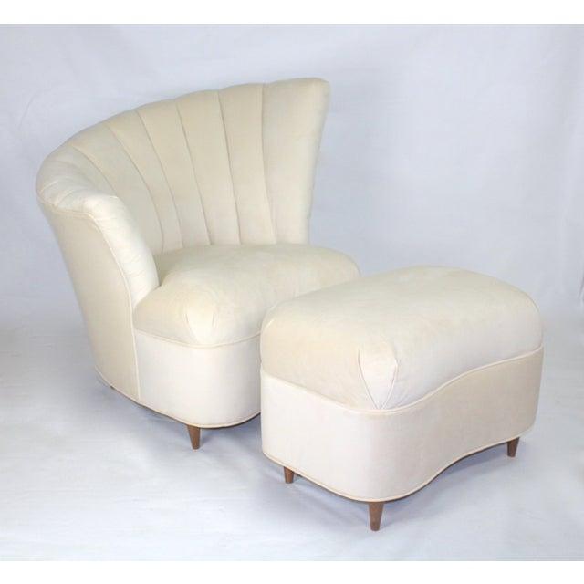 Vintage Hollywood Regency Fan Back Chair & Ottoman - Image 2 of 5