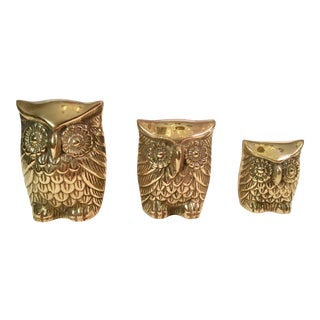 Mid-Century Brass Owls - Set of 3