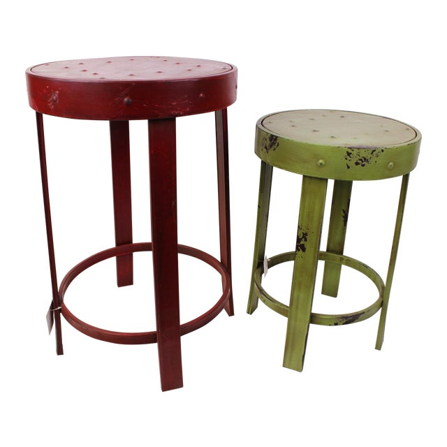 French Bistro Stools - A Pair - Image 1 of 7