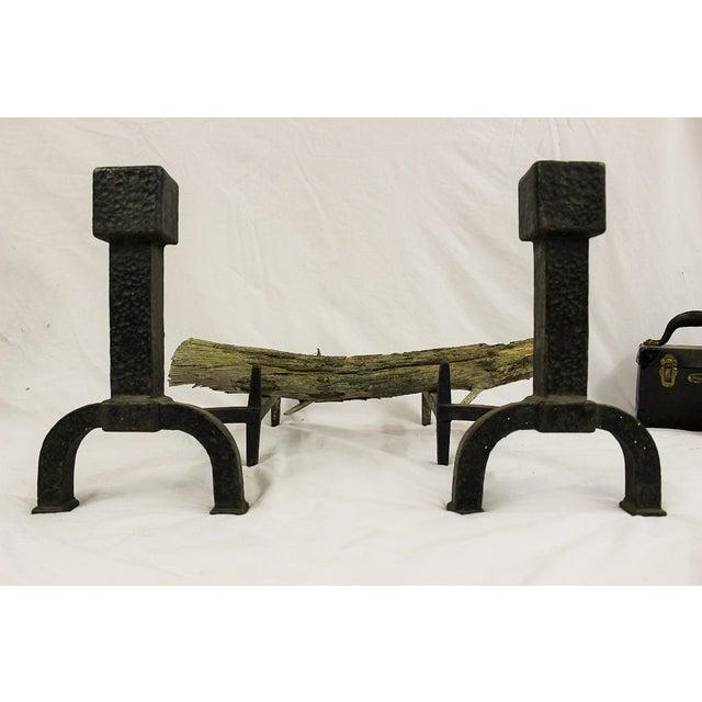 Mid Century Modern Iron Andirons - Image 4 of 4