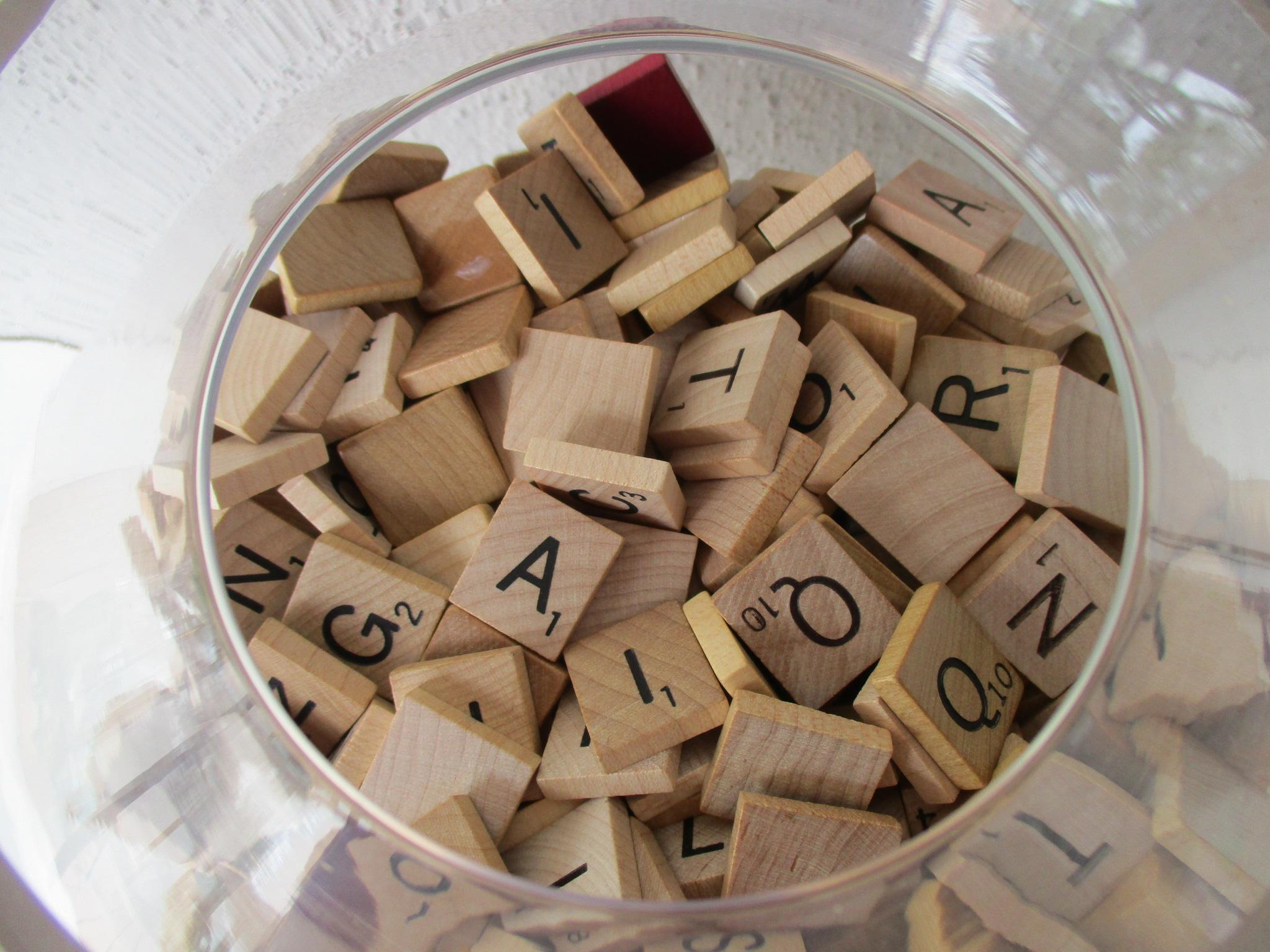 apothecary glass jar with scrabble tiles image 3 of 8