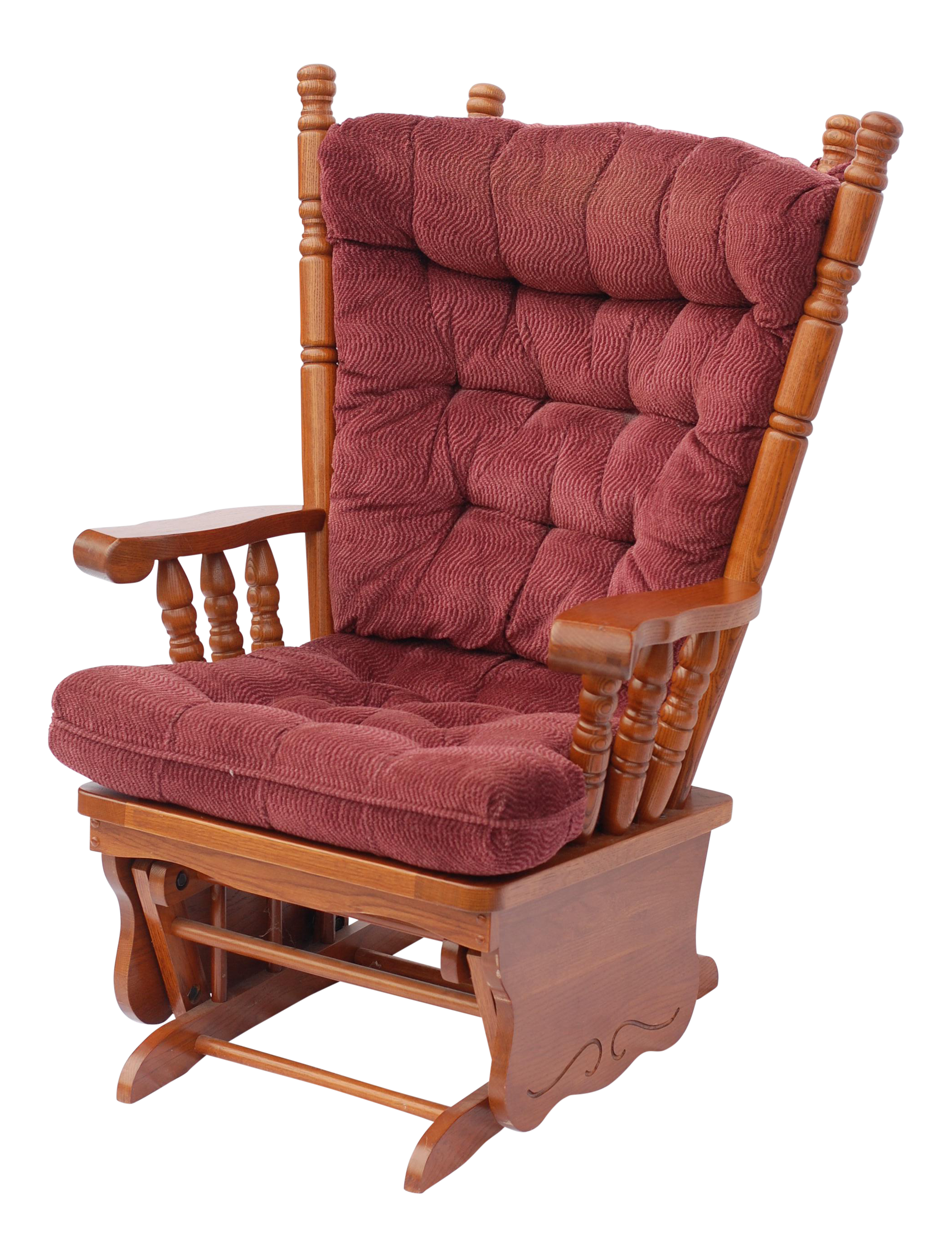 giselle solid wood glider rocker with burgundy tufted cushion