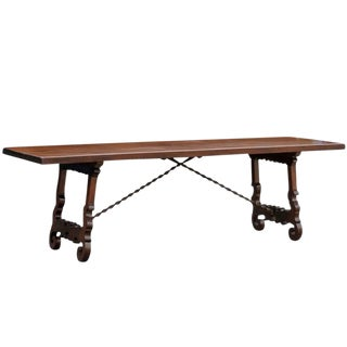 Long Italian Table with Iron Stretcher