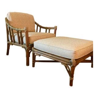 McGuire Rattan Club Chair & Ottoman