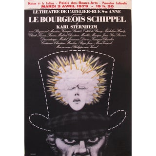 1980s Quebec Contemporary Poster, Man in Tophat