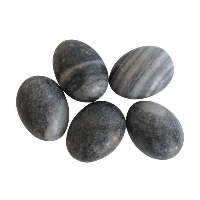 Image of Decorative Grey Marble Eggs - Set of 5