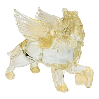 Italian Modern Clear and Amber Glass Winged Recumbent Lion, Murano