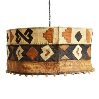 Kuba Cloth Drum Shape Chandelier