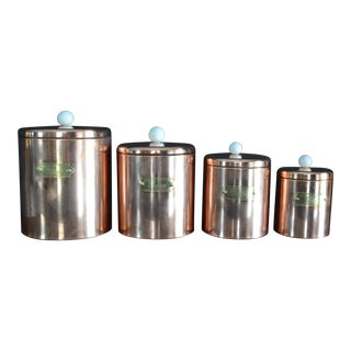 Vintage Polished Copper & Brass Canisters With White Ceramic Knobs - Set of 4