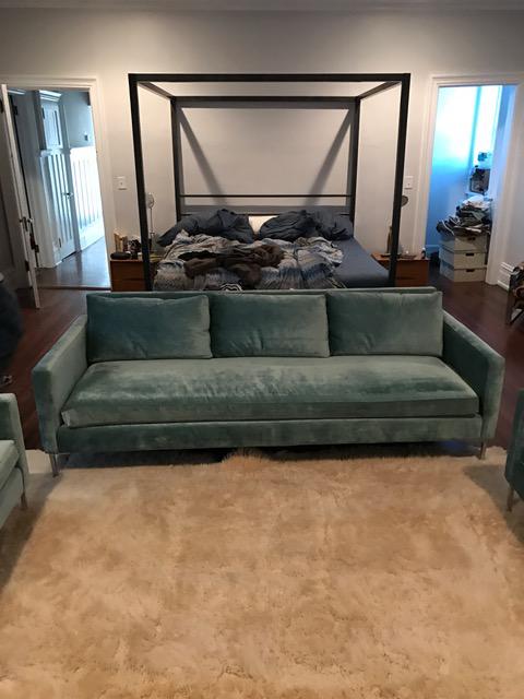Abc Home Custom Aqua Velvet Cobble Hill Soho Sofa   Image 2 Of 5