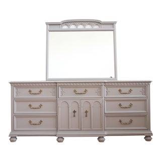 French Provincial Gray Dresser & Mirror