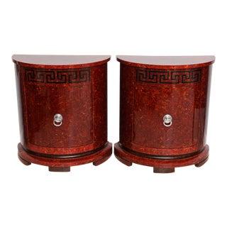Fine Pair of Faux Tortoise and Ebonized Demilune Cabinets, Samuel Marx
