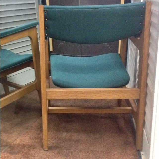 Teal Mid-Century Modern Arm Chairs - Set of 4 - Image 5 of 6