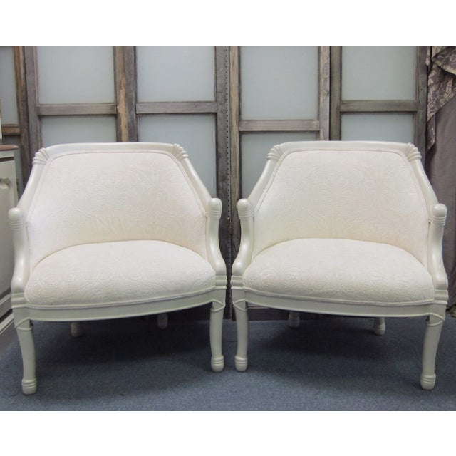 Vintage Pearl Damask Chairs - A Pair - Image 2 of 10