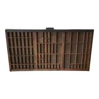 Antique Printer's Wood Letterpress Cabinet