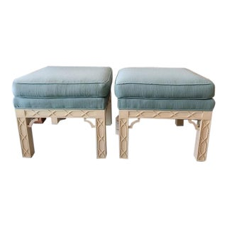 Chippendale Style Fretwork Benches - A Pair