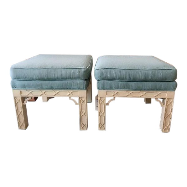 Chippendale Style Fretwork Benches - A Pair - Image 1 of 8